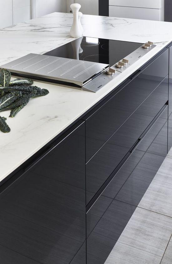 SieMatic S3 kitchen in Graphite Grey and Lotus White gloss finish, Dekton Aura and Quartz worktops, Gaggenau 200 series appliances, induction cooktop, light stone flooring, smoked mirrored glass splashback, Farrow & Ball All White and Mole's ...
