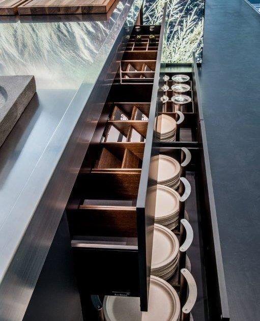 Arclinea Black Matt Kitchen Stainless Steel Worktops, Gaggenau (12) #Gaggenau