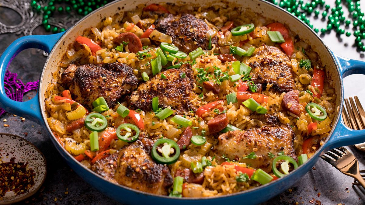Mardi Gras - Blackened Chicken with dirty rice