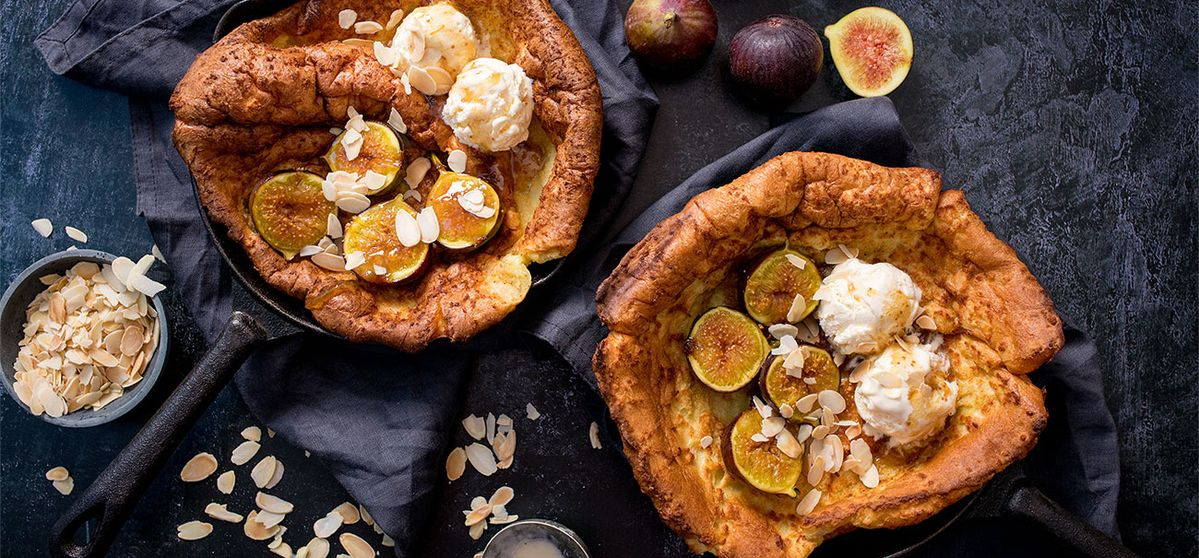 Mini Dutch baby pancakes with caramelized figs and ice cream