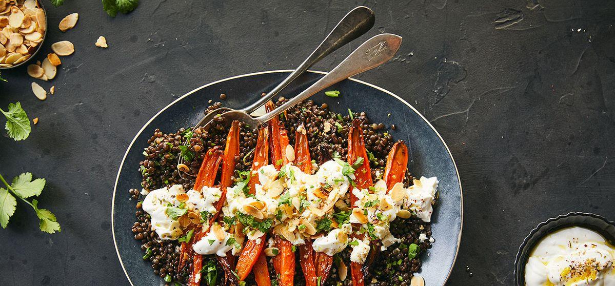 Beluga Lentil Salad with Glazed Carrots and Yogurt Sauce