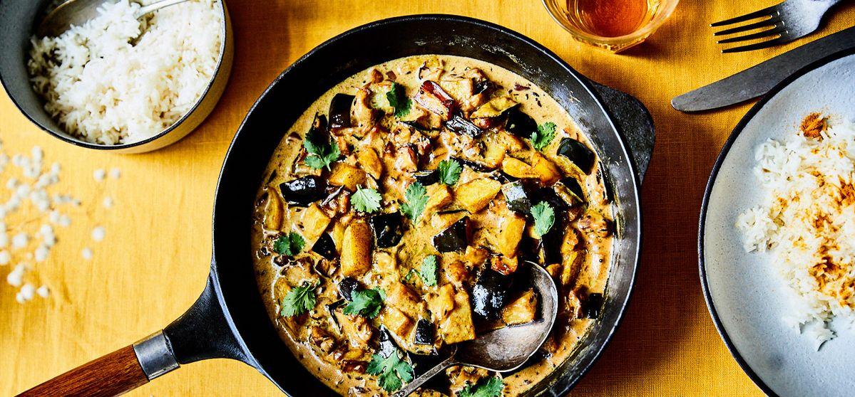 Aubergine in Kokos-Senf-Curry