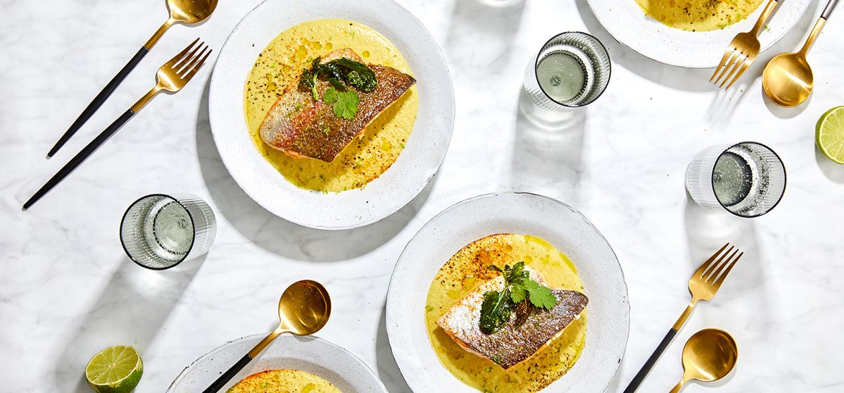 Kohlrabi Foam Soup with Pan-fried Trout