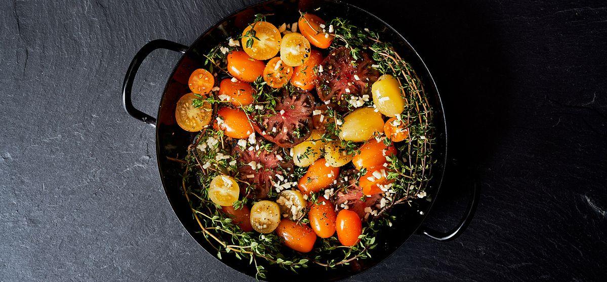 Рецепта: Ризото от перлен ечемик с шафран и печени домати на фурна
