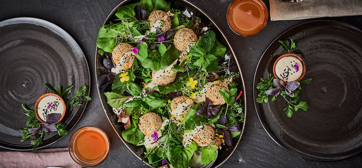 Chickpea and herb falafel with hemp dip