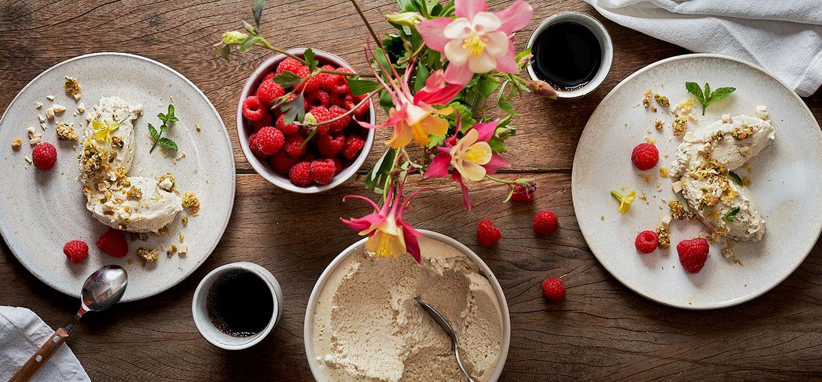 Vanilla and hemp mousse with raspberries