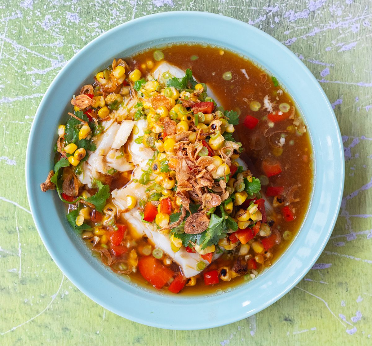 Steamed Cod Topped with Sweet Corn  & Lightly Spiced Pickled Green Beans