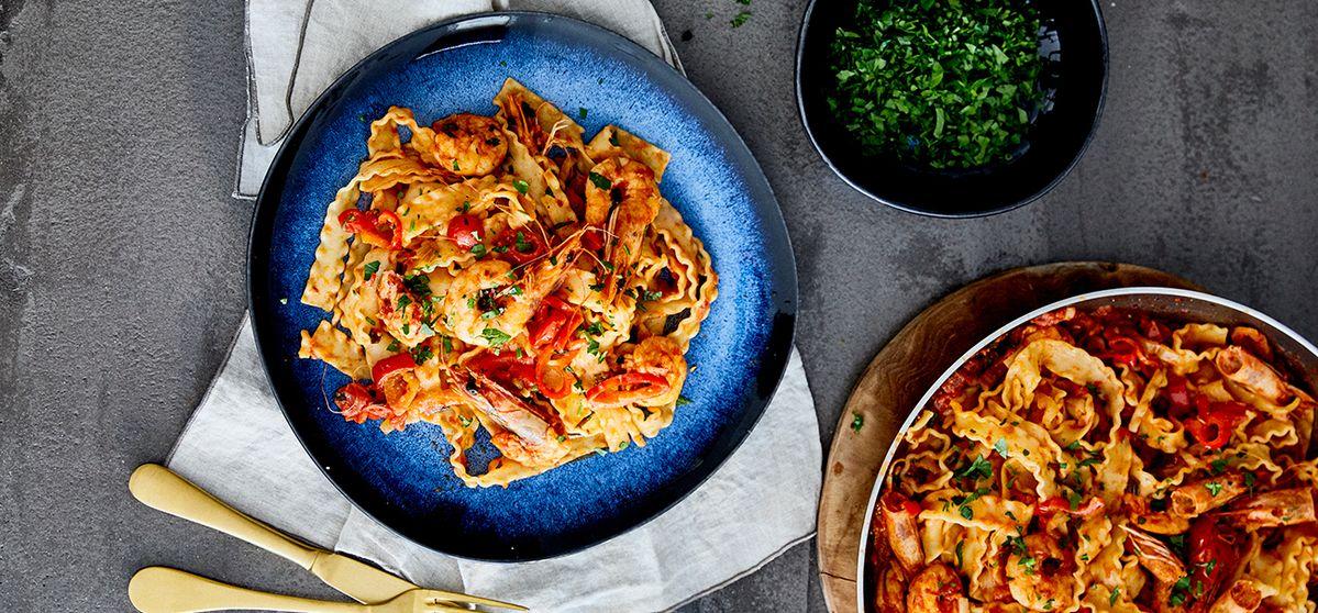 Mafaldine Pasta with Shrimps