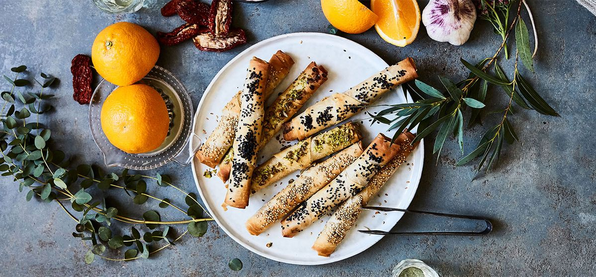 Pastry Cigars with Orange Carrot Dip