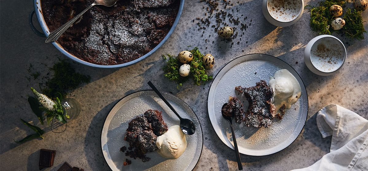 Chocolate and Spice Hot Cross Bun Pudding