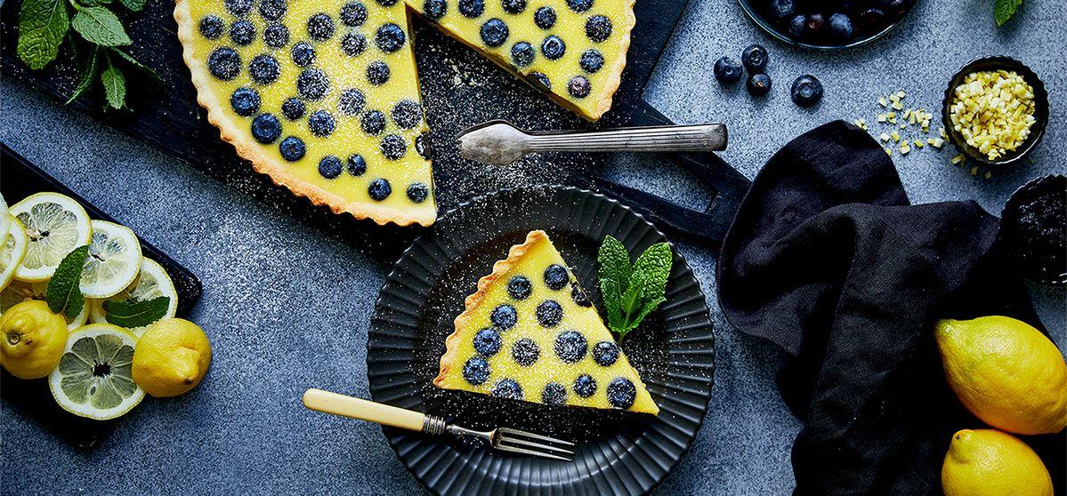 tarte au citron et à la myrtille