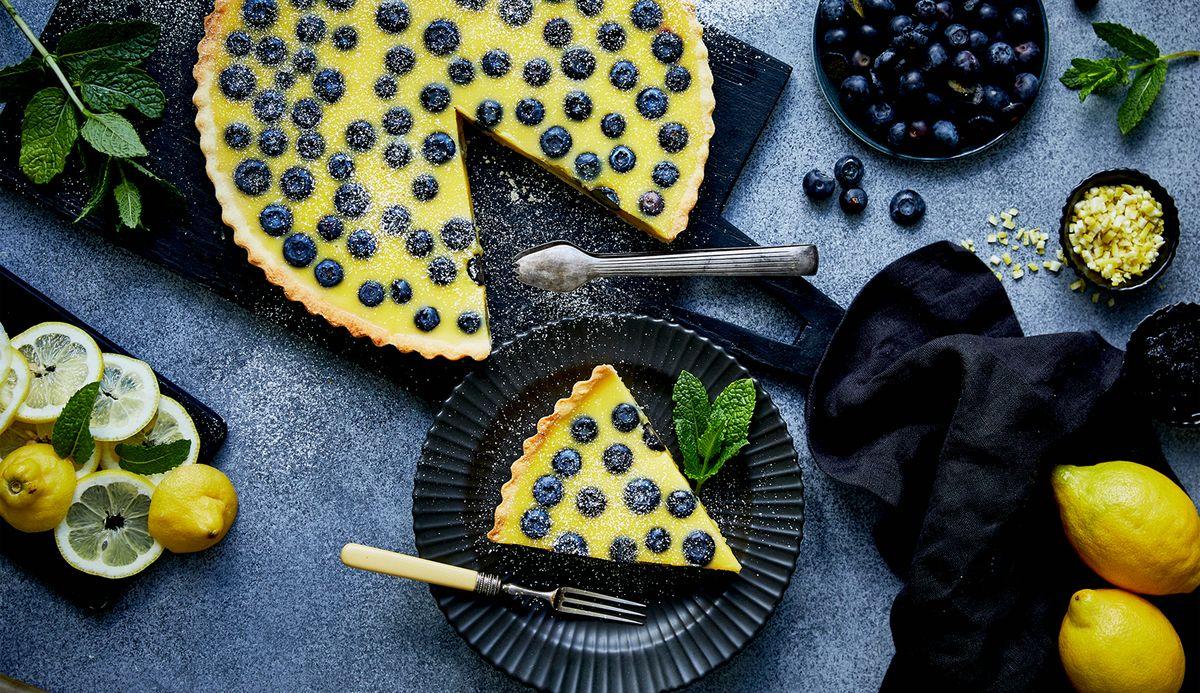 Citron- och blåbärstarte